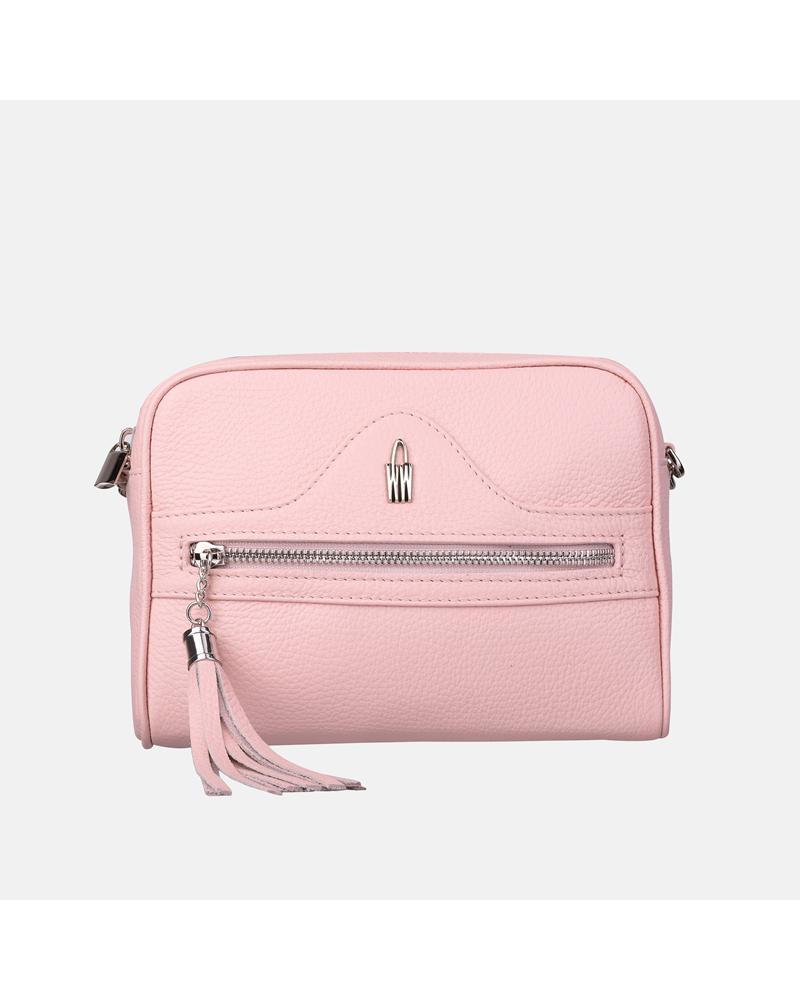 Rożowa torebka skórzana