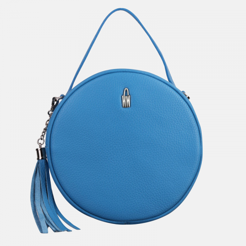Okrągła Błękitna torebka skórzana