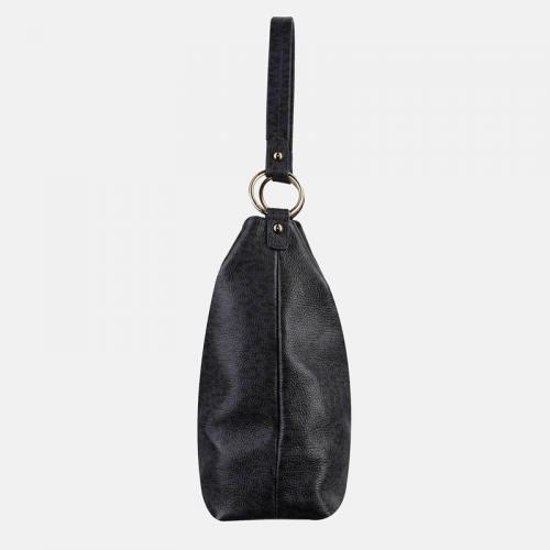Fioletowa torebka skórzana z printem