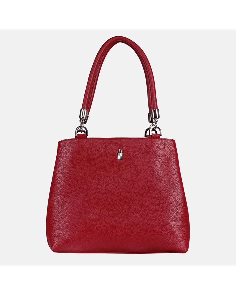 Czerwona torebka ze skóry naturalnej na ramię