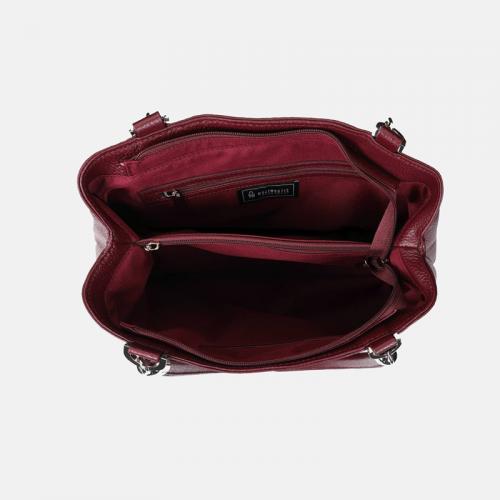 Bordowa torebka skórzana na ramię