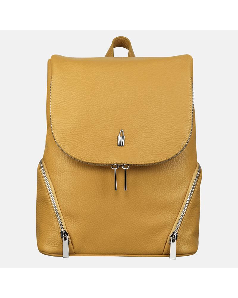 Żółty plecaczek damski skórzany