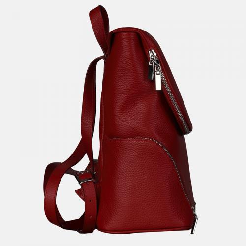 Czerwony plecak damski ze skóry naturalnej