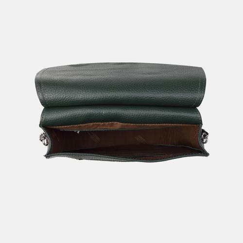 Ciemnozielona torebka skórzana