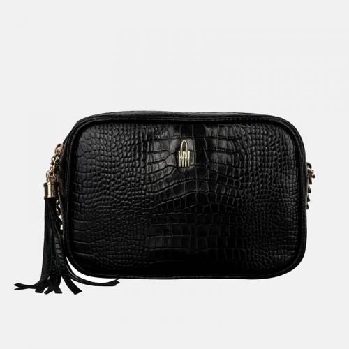 Mała czarna torebka damska listonoszka skórzana z teksturą krokodyla