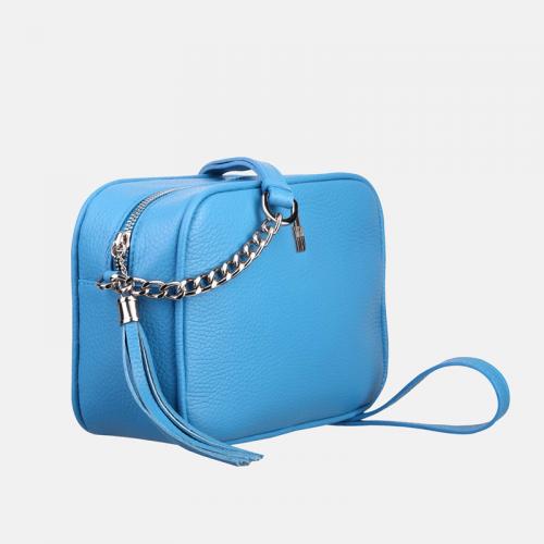 Błękitna torebka skórzana