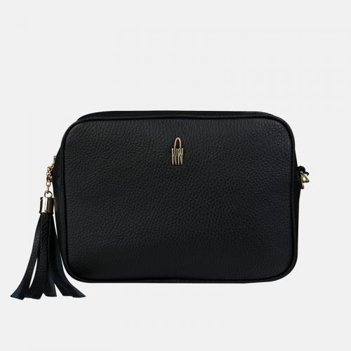 Mała czarna elegancka torebka z frędzlami ze skóry naturalnej