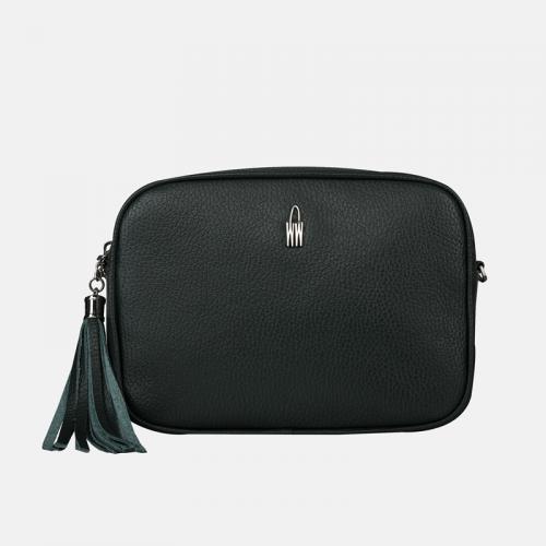 Mała torebka skórzana crossbody w kolorze ciemnej zieleni