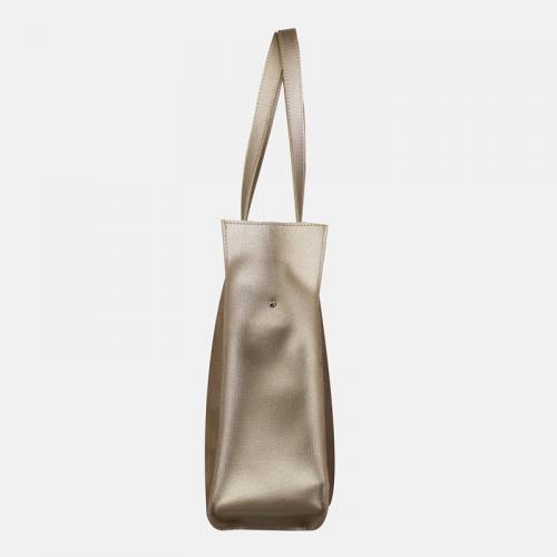 Złota torebka ze skóry shopperka