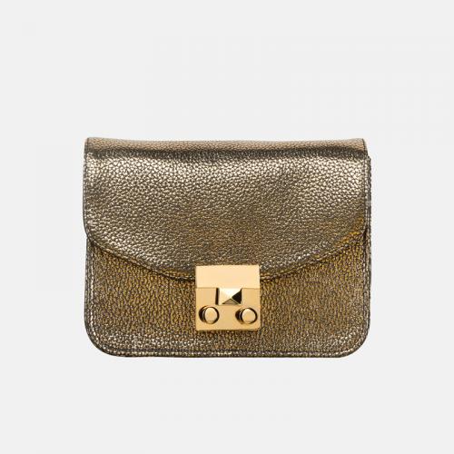 Złota torebka skórzana