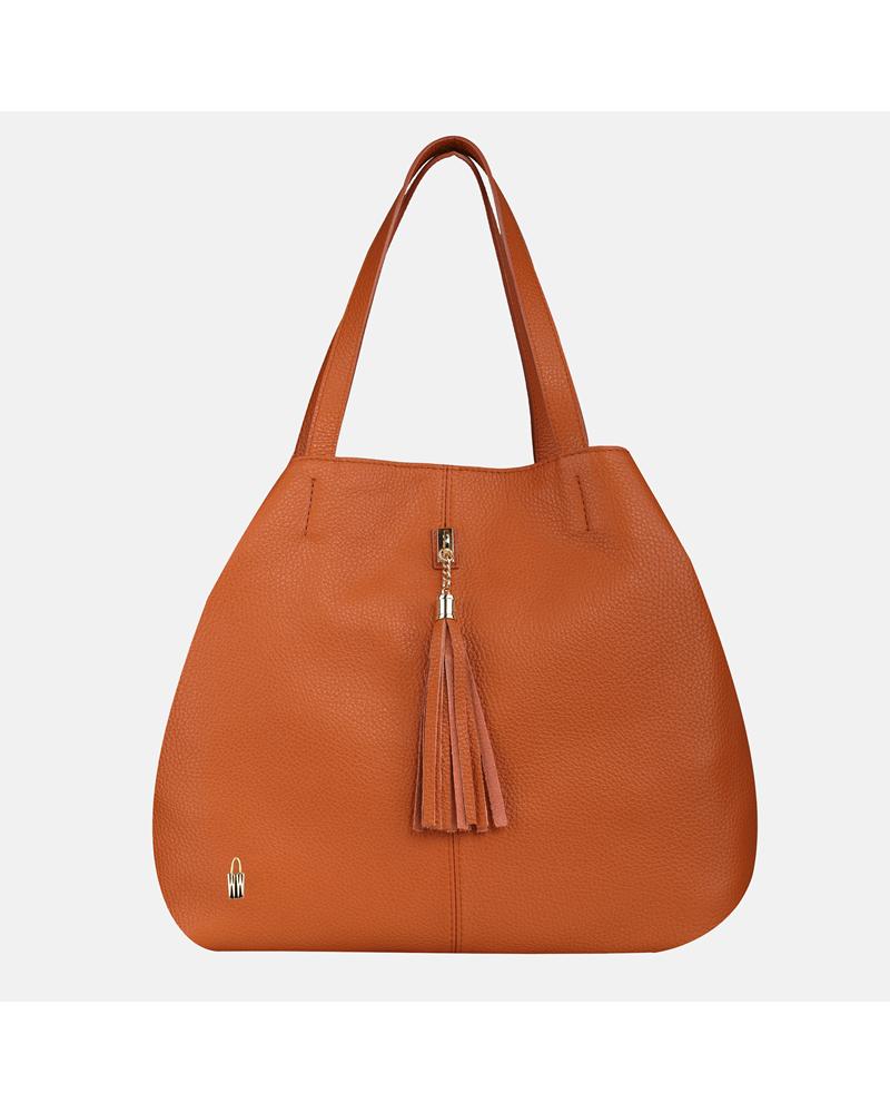 Pomarańczowa torebka skórzana