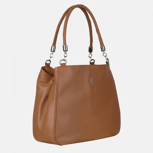 Duża torebka ze skóry na ramię – kolor miodowy