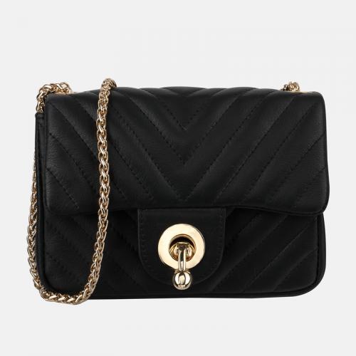 Mała czarna skórzana torebka z łańcuszkiem