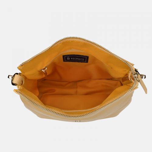 Żółta torebka damska listonoszka ze skóry naturalnej