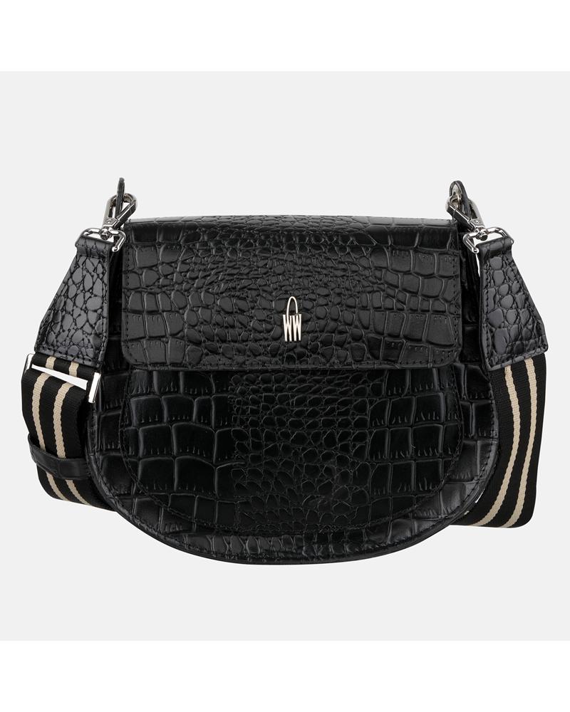 Czarna mała torebka przez ramię ze skóry naturalnej z imitacja wzoru krokodyla i wzorzystym paskiem
