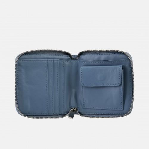 Szaroniebieski portfel skórzany