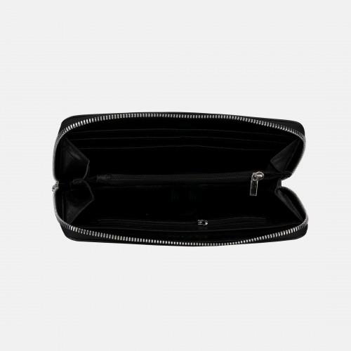Czarny portfel ze skóry saffiano