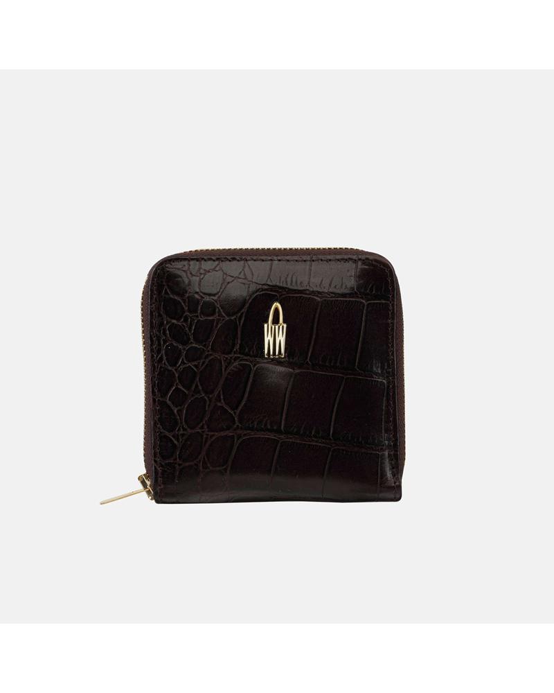 Brązowy Croco portfel skórzany