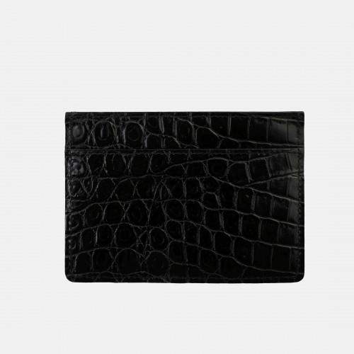 Czarne Croco etui na karty skórzane