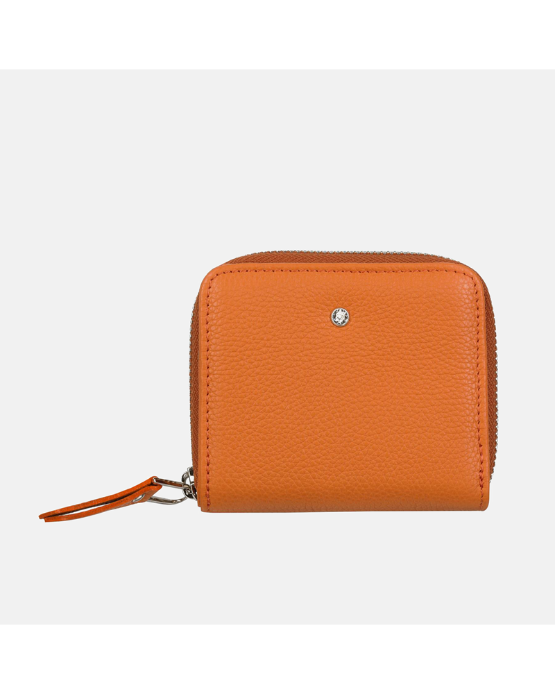 Pomarańczowy portfel skórzany