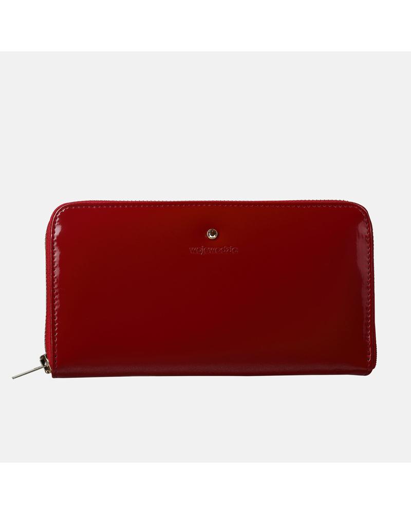 Czerwony lakierowany portfel skórzany