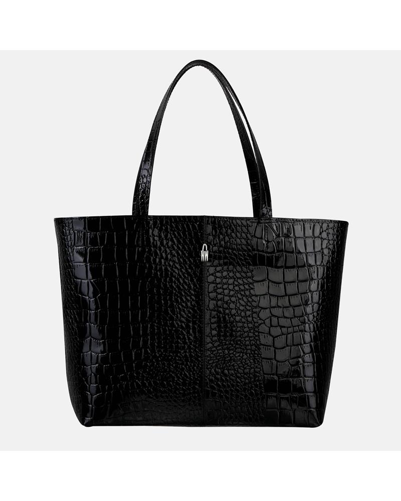 Czarna torebka skórzana shopper z krokodylim wzorem