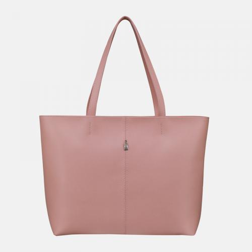 Torebka różowa skórzana shopper