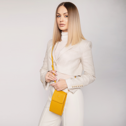 Mała żółta torebka saszetka damska na pasku