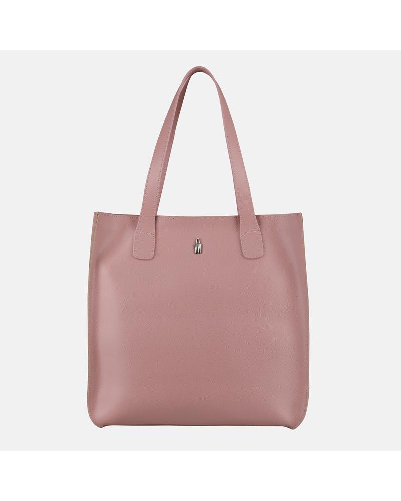 Różowa Torebka Skórzana Shopper A4