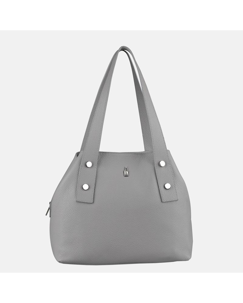 Skórzana torebka damska na ramię w kolorze popielatym