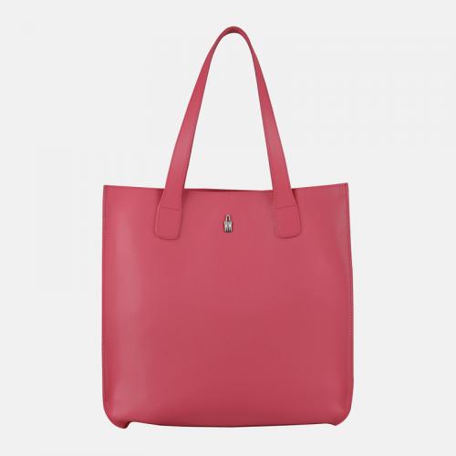 Różowa torebka ze skóry shopper