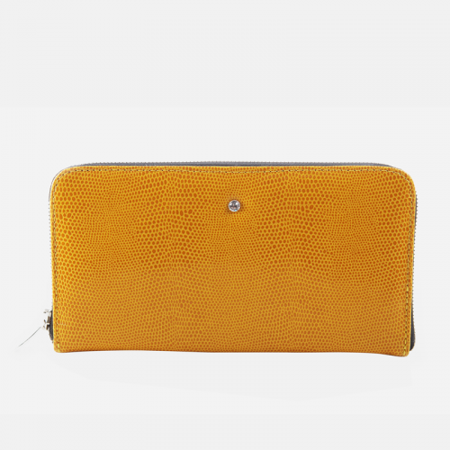 Żółty portfel skórzany