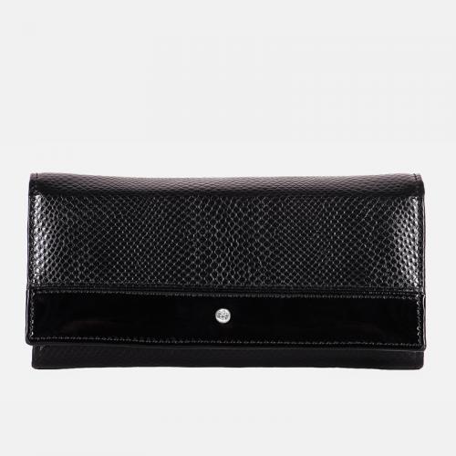 Czarny klasyczny portfel skórzany