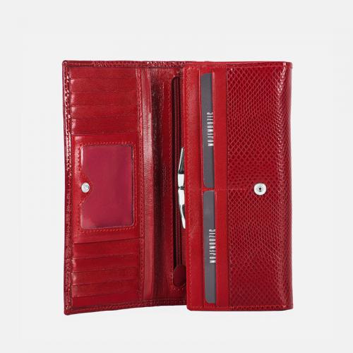 Czerwony klasyczny portfel skórzany