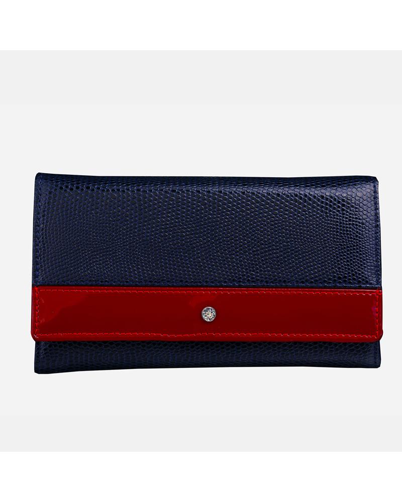 Granatowo czerwony klasyczny portfel skórzany