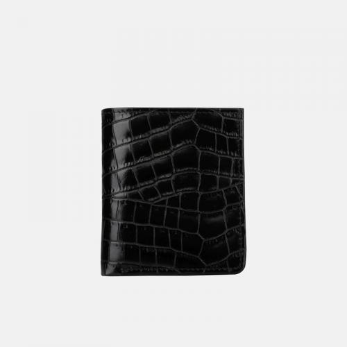 Czarny Croco portfel skórzany