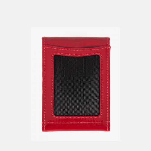 Czerwone etui na karty skórzane