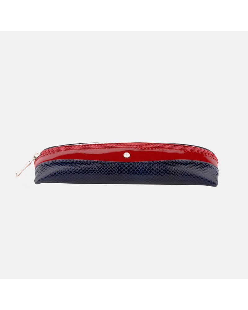 Granatowo czerwony piórnik skórzany