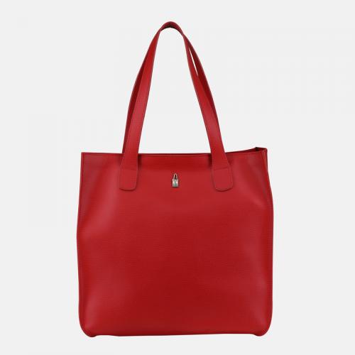 Czerwona torebka skórzana typu shopper