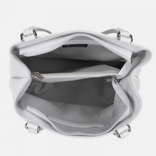 Jasnoszara klasyczna torebka skórzana na ramie