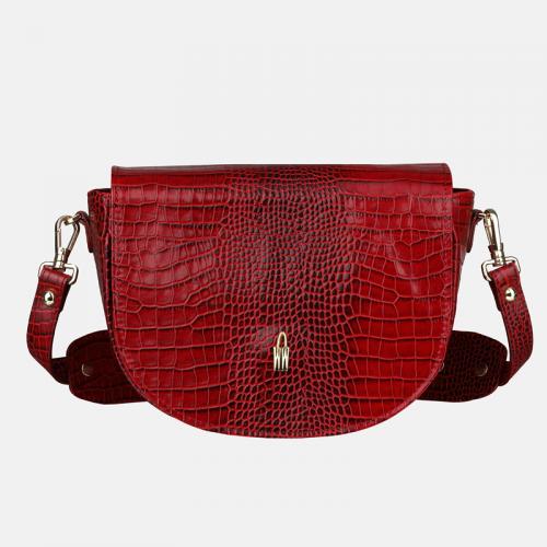 Czerwona torebka skórzana crossbody z krokodylim wzorem