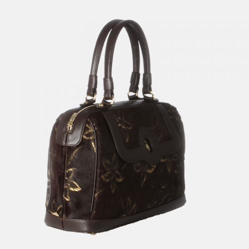 Brązowa torebka skórzana z kolekcji Gold kuferek z printem