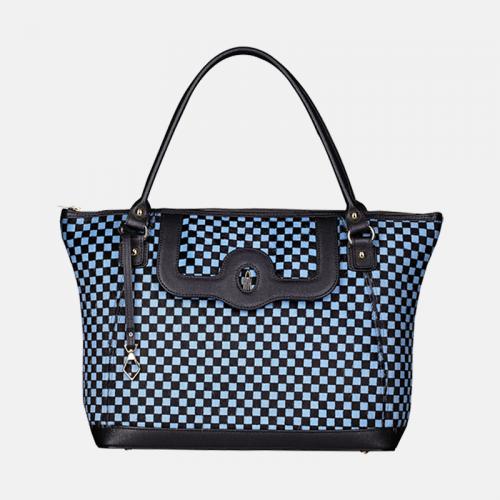 Niebieska klasyczna torebka skórzana z kolekcji Gold