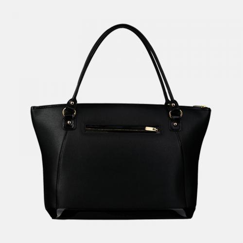 Czarna torebka skórzana z kolekcji Gold typu shopper