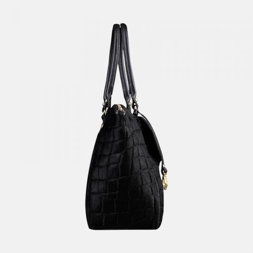 Czarna skórzana torebka Shopper z kolekcji Gold