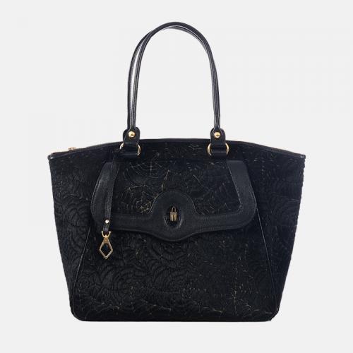 Czarna torebka skórzana Shopper z pajęczym wzorem