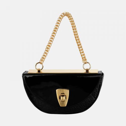 Czarna torebka skórzana z kolekcji Gold na łańcuchu