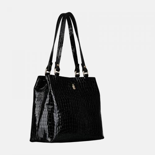 Czarna torebka skórzana lakierowana z tłoczeniem krokodyla