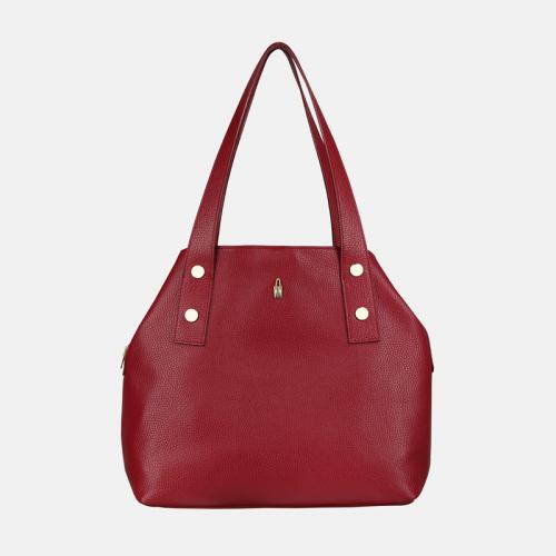 Czerwona torebka ze skóry na ramię