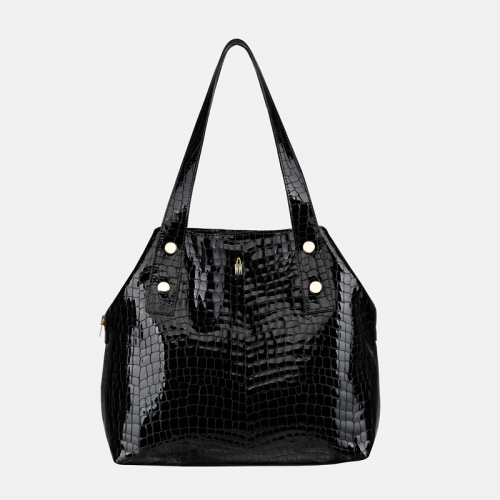 Czarna torebka na ramię ze skóry o wzorze krokodyla